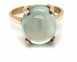Prehnite 9.20ct Golden Rhodium Finish Solid 925 Sterling Silver Ring