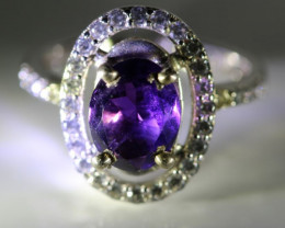 Amethyst 1.02ct Platinum Finish Solid 925 Sterling Silver Ring