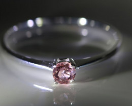 Pink Tourmaline .13ct Platinum Finish Solid 925 Sterling Silver Ring