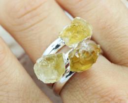x3 Solar Plexus CITRINE Chakra Gemstone Rings Size 5 - CH07