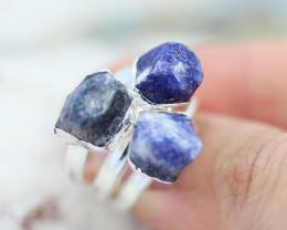 x3 Throat Chakra Sodalite Gemstone Rings Size 4 - CH15