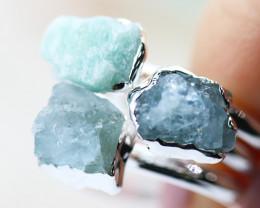 x3 Heart Chakra Aventurine Gemstone Rings Size 8.5 - CH21