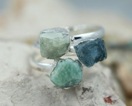 x3 Heart Chakra Aventurine Gemstone Rings Size 5.5 - CH25