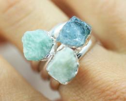 x3 Heart Chakra Aventurine Gemstone Rings Size 5.5 - CH26