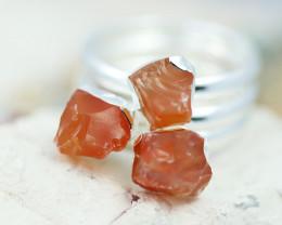 x3 Sacred Chakra Carnelian Gemstone Rings Size 7 - CH33