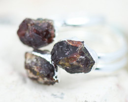 x3 Root Chakra Garnet Gemstone Rings Size 5 - CH35