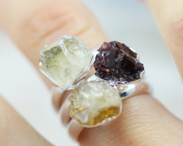 x3 Root Chakra Mixed Gemstone Rings Size 5 - CH37