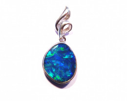 Quality Natural Australian Opal and Sterling Silver Pendant (z2878)