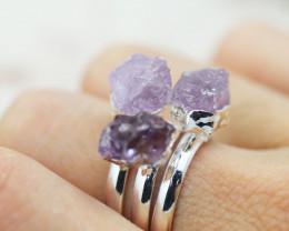 x3 Crown Chakra Amethyst Gemstone Rings size 5.5  - CH56
