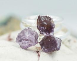 x3 Crown Chakra Amethyst Gemstone Rings Size 6 - CH59