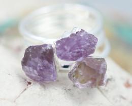 x3 Crown Chakra Amethyst Gemstone Rings Size 7.5 - CH61