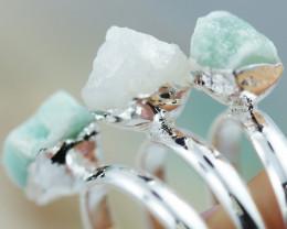 x3 Heart Chakra Gemstone Rings Size 7.5 - CH68