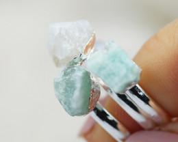 x3 Heart Chakra Gemstone Rings Size 7.5 - CH69