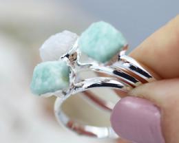 x3 Heart Chakra Gemstone Rings Size 8.5 - CH72