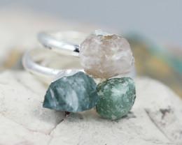 x3 Heart Chakra Gemstone Rings Size 6 - CH73