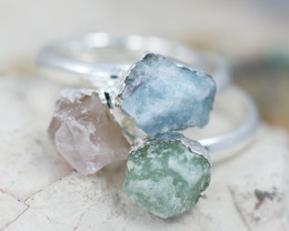 x3 Heart Chakra Gemstone Rings Size 5 - CH77