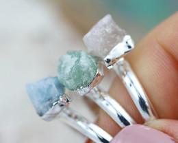 x3 Heart Chakra Gemstone Rings Size 5 - CH78