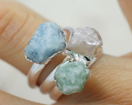 x3 Heart Chakra Gemstone Rings Size 5 - CH79