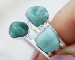 x3 Heart Chakra Gemstone Ring Size 7.5 - CH88