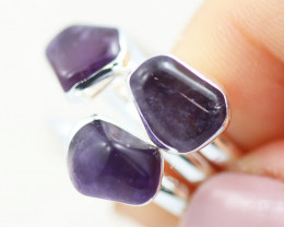 x3 Crown Chakra Gemstone Rings  Size 8.5 - CH95
