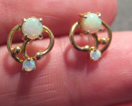 Beautiful Australian Opal and10k Gold Earrings (2283)