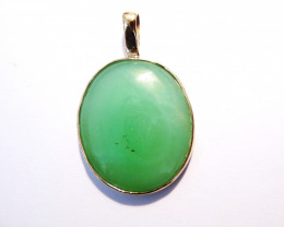 Pretty Australian Chrysoprase and 9k Gold Pendant (z2328)