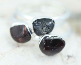 x3 Root Chakra Black Tourmaline Gemstone Rings Size 8.5 - CH107