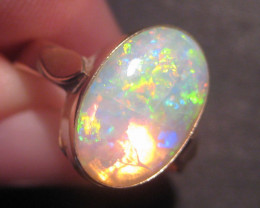 ON SALE was US$1850 Australian Opal and 9k Gold Ring  Size 6.25 (z2199)