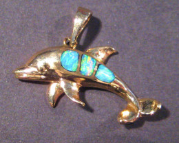 Pretty Australian Inlay Opal and 14k Gold Dolphin Pendant Charm