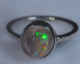 5sz Mexican Opal .925 Sterling Silver Ring