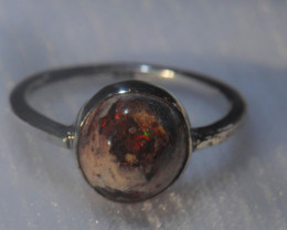 6.5sz Mexican Opal .925 Sterling Silver Ring