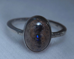 6sz Mexican Opal .925 Sterling Silver Ring
