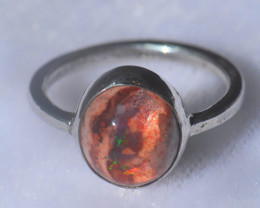 5.5sz Mexican Opal .925 Sterling Silver Ring
