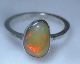 7sz .925 Sterling Ethiopian Welo Solid Opal Ring