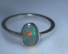 7.7sz .925 Sterling Ethiopian Welo Solid Opal Ring