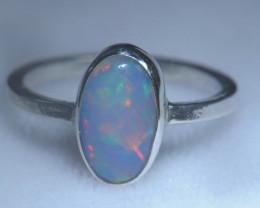 7.7sz .925 Sterling Ethiopian Welo Solid Opal Ring
