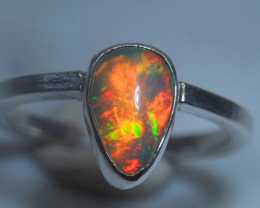 6.7sz .925 Sterling Ethiopian Welo Solid Opal Ring
