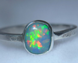 6.2sz .925 Sterling Ethiopian Welo Solid Opal Ring