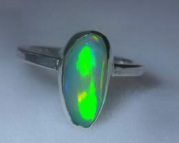 5sz .925 Sterling Ethiopian Welo Solid Opal Ring