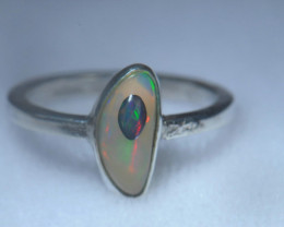 5.5sz .925 Sterling Ethiopian Welo Solid Opal Ring