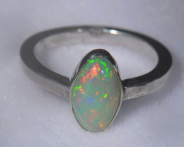 9.5sz .925 Sterling Ethiopian Welo Solid Opal Ring