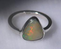 4.7sz .925 Sterling Ethiopian Welo Solid Opal Ring