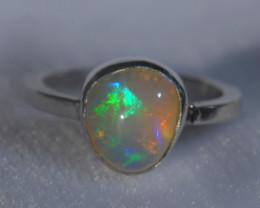 6sz .925 Sterling Ethiopian Welo Solid Opal Ring