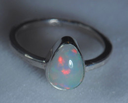 5.7sz .925 Sterling Ethiopian Welo Solid Opal Ring