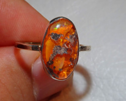 7sz .925 Sterling Mexican Opal Silver Ring