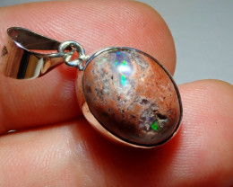 11.87sz .925 Sterling Mexican Opal Silver Pendant