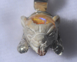 .925 Sterling Jaguar Head Mexican Opal Silver Pendant