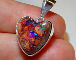28.18ct .925 Sterling Heart Mexican Opal Silver Pendant