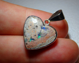 19.15ct .925 Sterling Heart Mexican Opal Silver Pendant