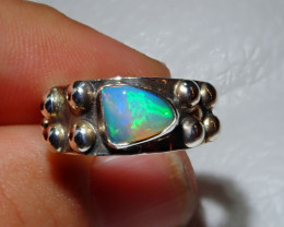 6.5sz Natural Welo Opal .925 Sterling Silver Ring